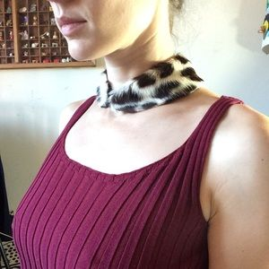 Real Fur Vintage Collar Leopard / cheetah print